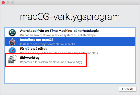 macOS - Verktygsprogram - Skivverktyg - Radera - Formatera