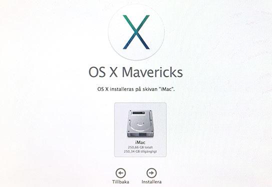 OS X - Installeras på skivan - Installera om Mac