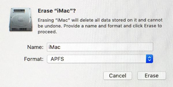 Skivverktyg - Vill du radera Mac OS Extended - Journalförd - APFS