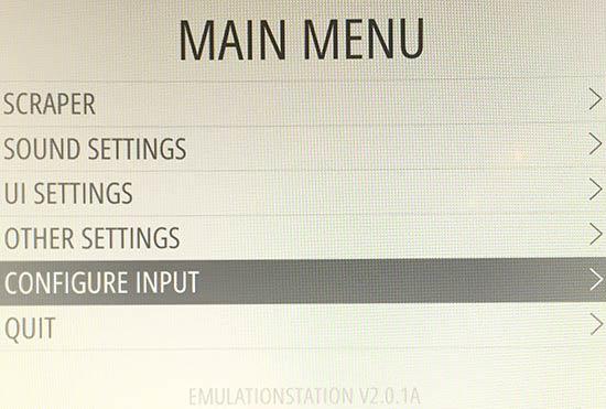 RetroPie - EmulationStation - Configure - Input - Ställ in kontroll