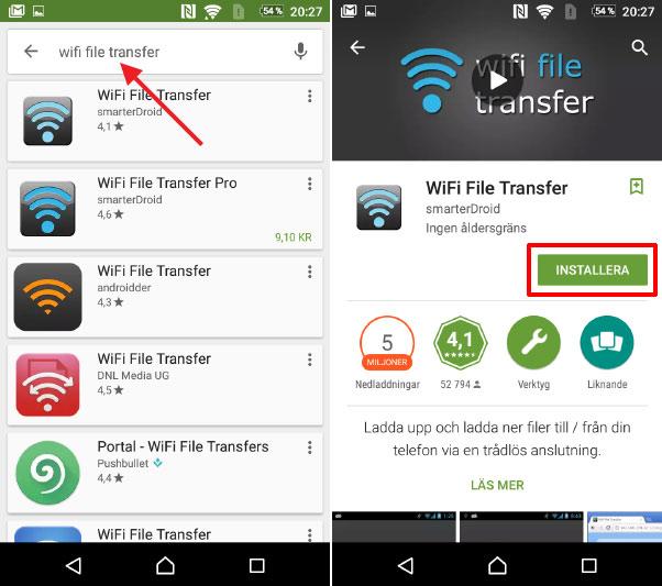 WiFi File Transfer -Skicka foton och filer trådlöst - Android