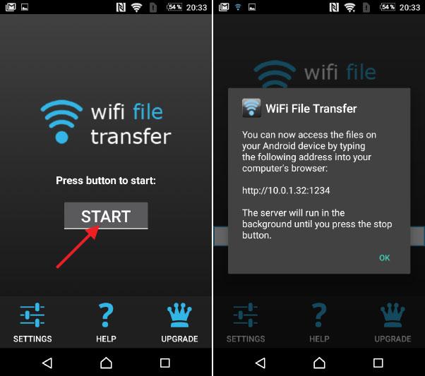 WiFi File Transfer - Starta utdelning av filer - Android - Trådlöst - Wi-Fi