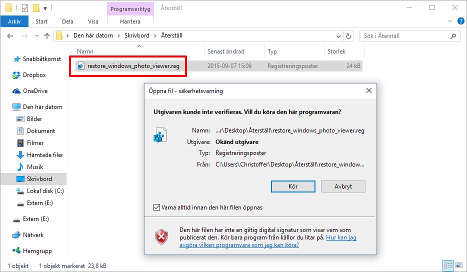 Återställ Windows Fotovisare - Från Windows 7 och 8