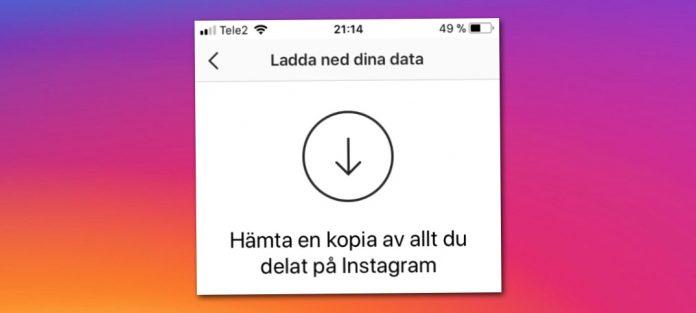 Spara en kopia - Backup - av allt från Instagram konto