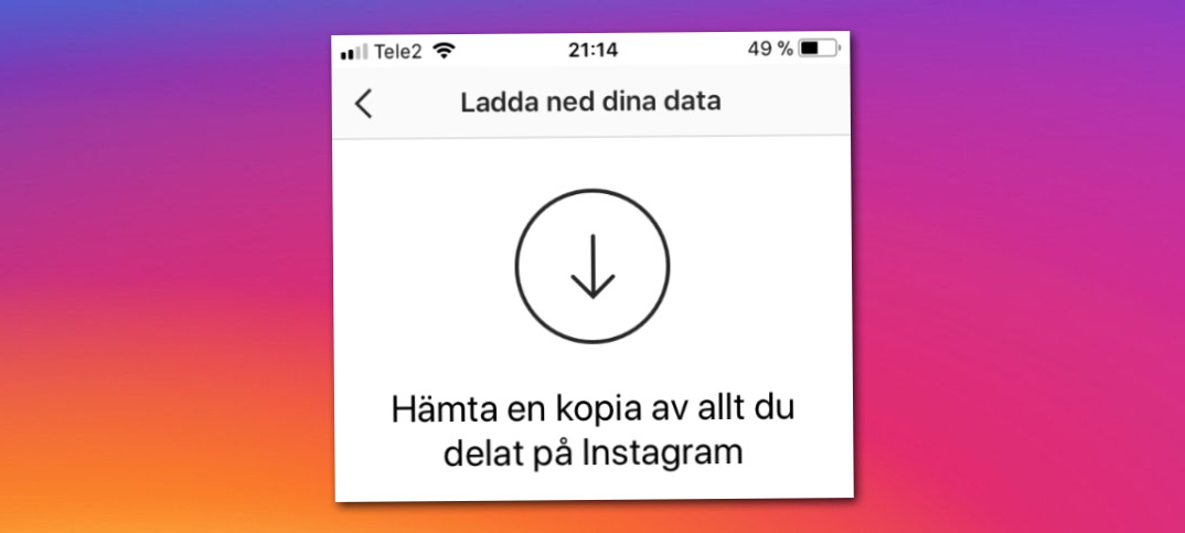 spara bilder från instagram
