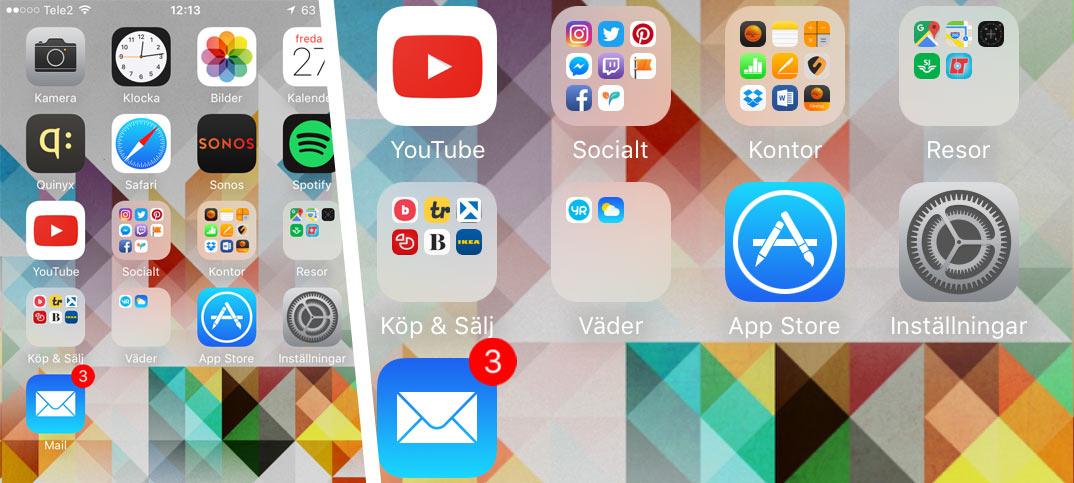 Ta bort röda siffror - Sifferikoner - Brickor - Vid appar på iPhone och iPad