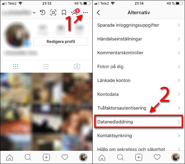 Instagram - Meny - Inställningar - Datanedladdning - Backup