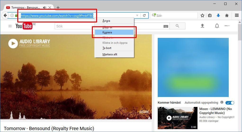 Spara YouTube-video som MP3-låt - Högerklicka - Kopiera