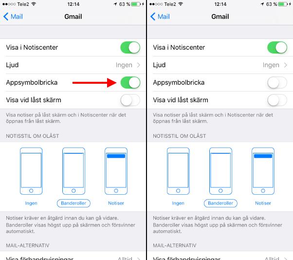 Stäng av siffror - brickor vid app - Iphone - iPad