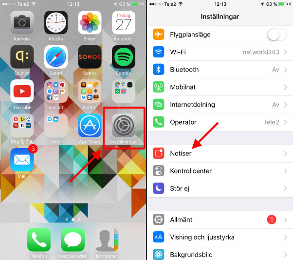 Ta bort de röda siffrorna bredvid ikoner - iPhone - iPad
