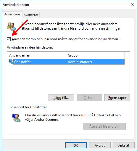 Windows 10 - Användarkonton - Ta bort lösenord - Logga in automatiskt