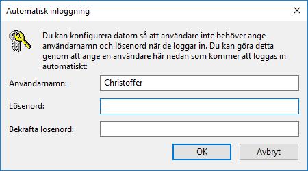 Windows 10 - Automatisk inloggning - Ange lösenord