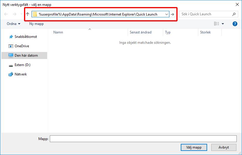 Windows 10- Snabbstart - Quick Launch - AppData - Roaming