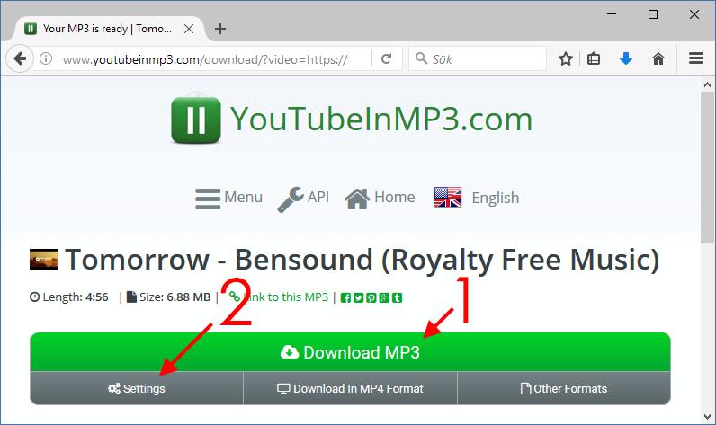 YouTube till MP3 - Ladda ner din låt - Inställningar -Längd