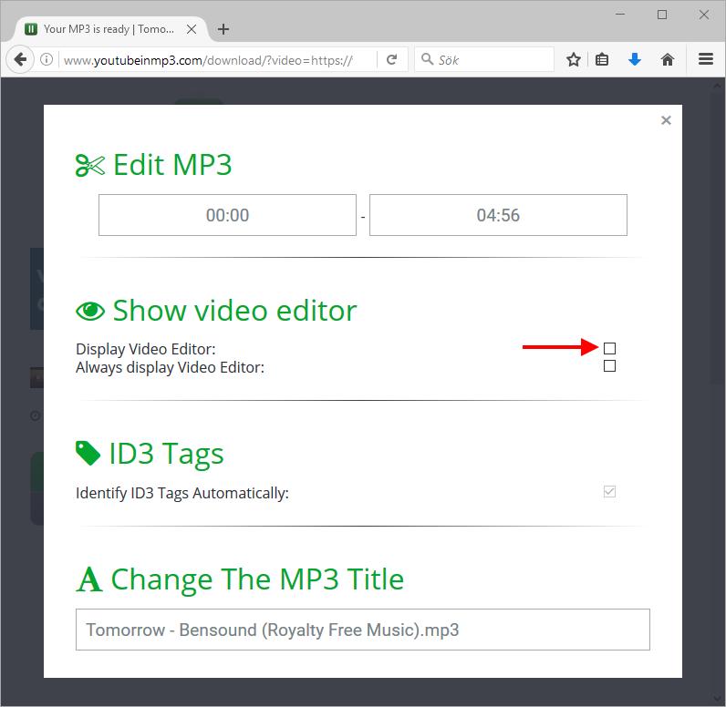 YouTubeInMP3 - Visa Videoredigerare - Ändra längd