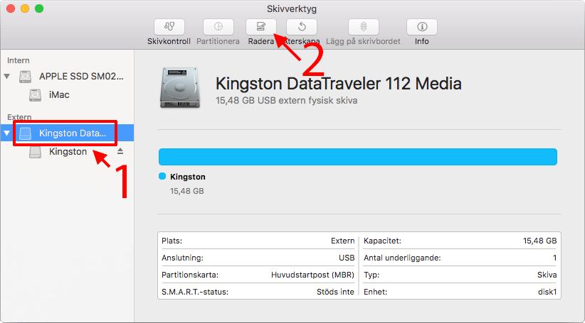 Mac - Disk Utility - Markera - Välj Radera - Formatera