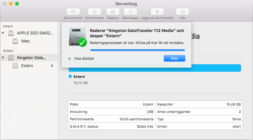 Mac - Formatera extern hårddisk - USB-minne - Klar - Färdig