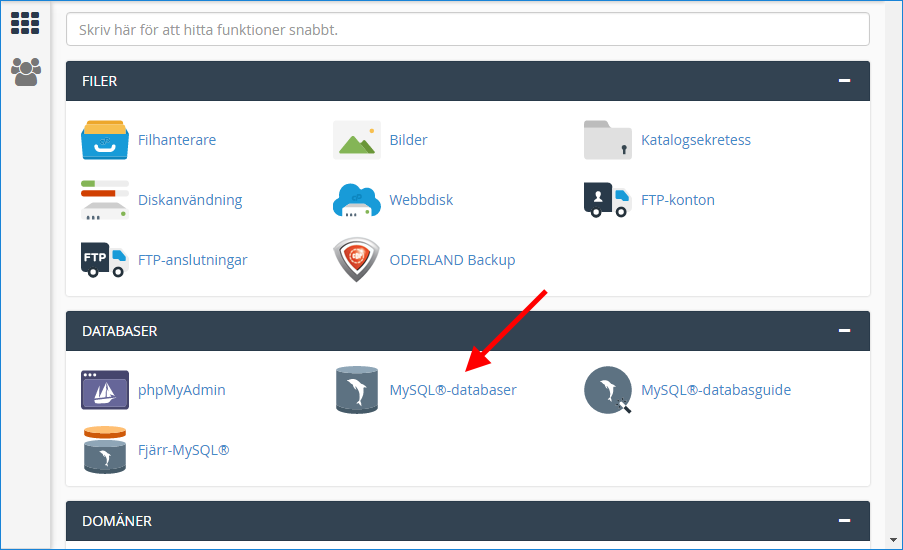 MySQL - Databaser - Skapa ny databas - Flytta WordPress