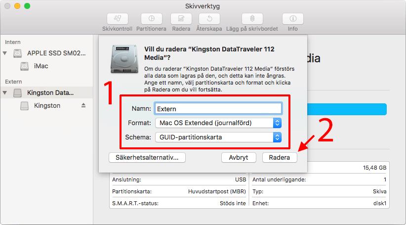 Radera - Formatera hårddisk - USB-minne för Mac - macOS