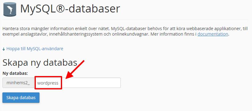 WordPress - Flytta - Skapa ny databas