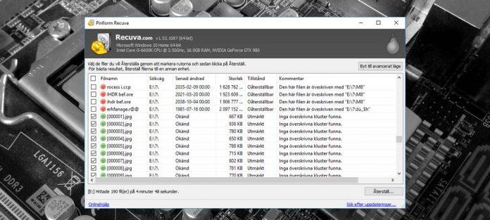 Återskapa och få tillbaka raderade bilder och filer - Windows - USB - Extern hårddisk