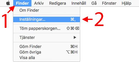 Finder - Inställningar - Visa extern hårddisk på Skrivbordet - Mac