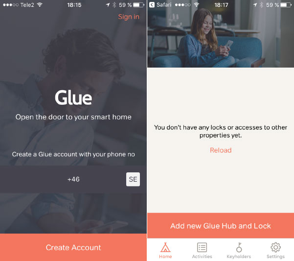 Glue Smart Lock - Appen - Installera - Lägg till