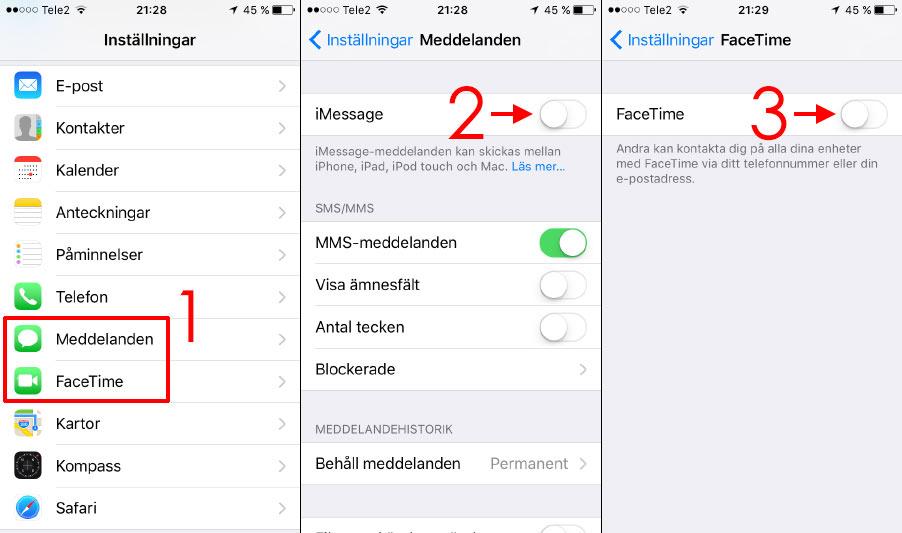 iMessage - FaceTime - Stäng av iPhone - iPad - Fungerar inte