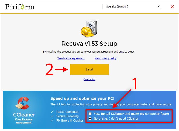 Installera Recuva - Få tillbaka borttagna filer och bilder