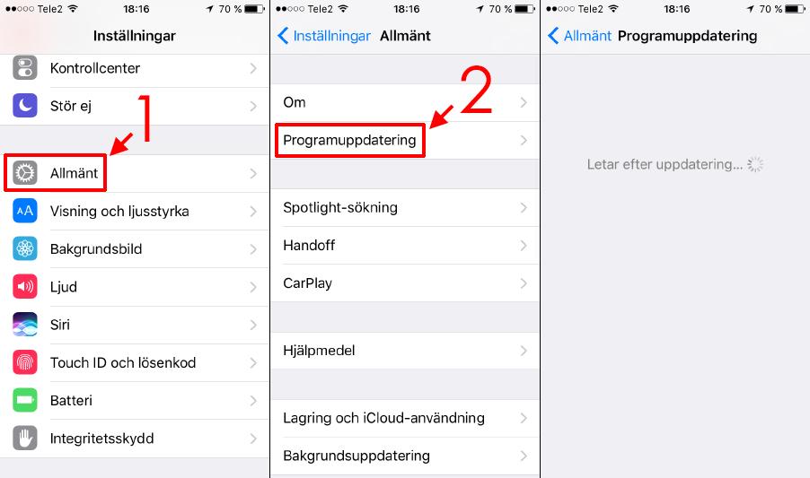 iPhone - Programuppdatering - Uppdatera iOS batteri