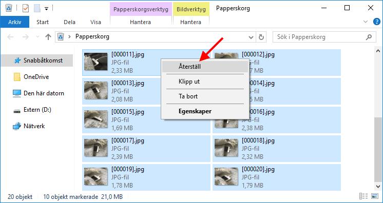 Papperskorgen - Återställ raderade filer