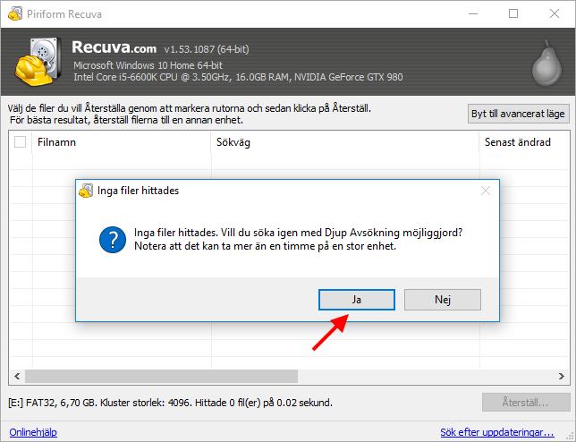 Recuva - Djup avsökning - Hitta dolda - borttagna filer och bilder