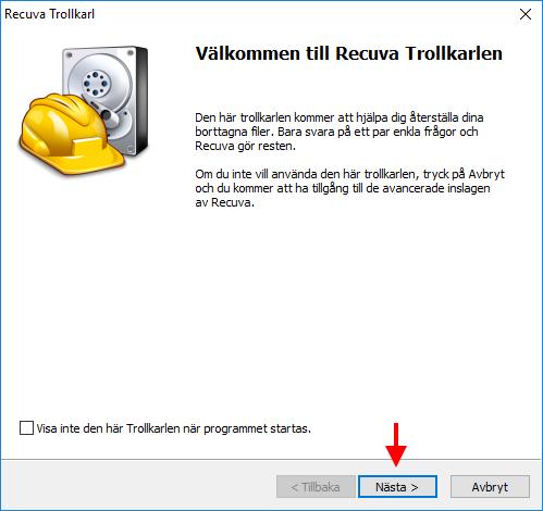 Recuva - Påbörja återställning av raderade filer