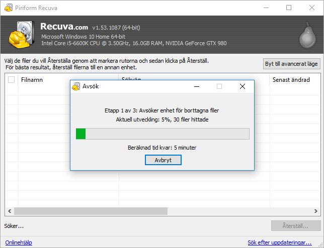 Recuva - Söker igenom USB-minne efter borttagna bilder - filer