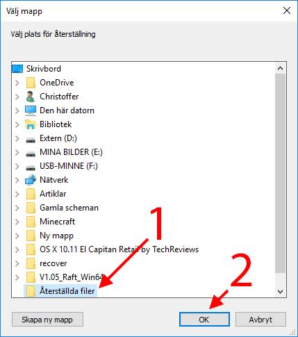 Recuva - Välj plats för återskapade filer - bilder