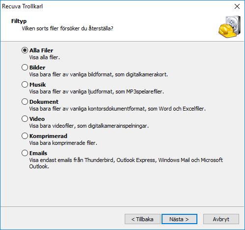 Recuva - Välj typ av filer som ska letas efter