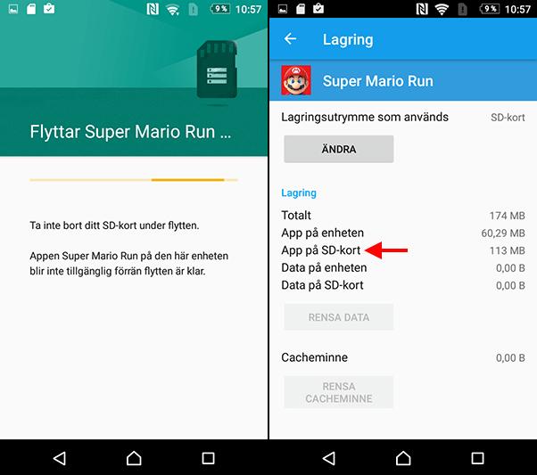 Android - App flyttad till Micro SD-kort