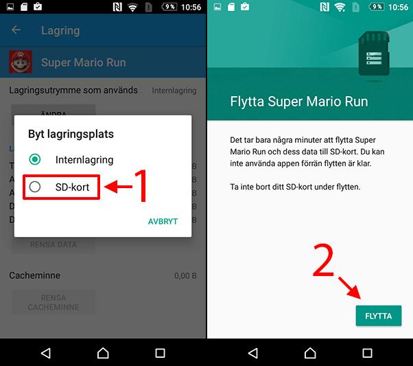 Android - Flytta appar - Lagring - SD-kort - Flytta