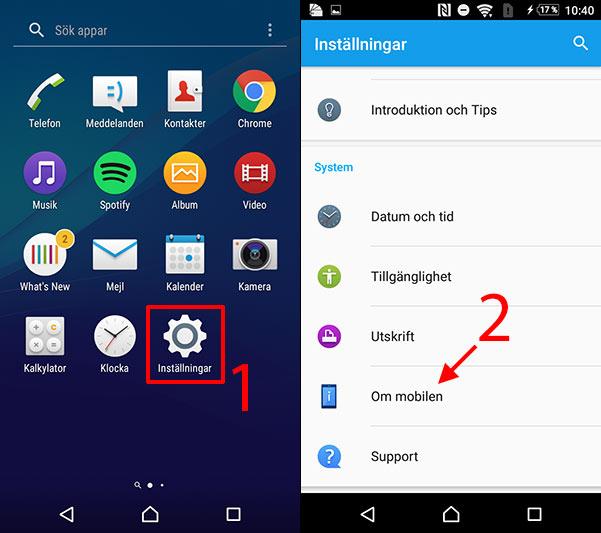 Android - Inställningar - Om mobilen - Uppdatera