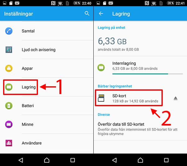 Android - Lagrin - Micro-SD-minneskort - Formatera