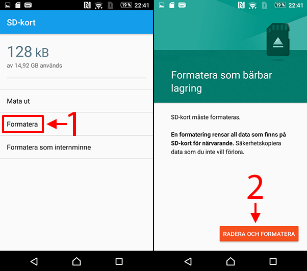 Android - SD-kort - Formatera