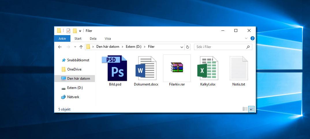 Visa filnamnstillägg - Filändelser - Windows 10