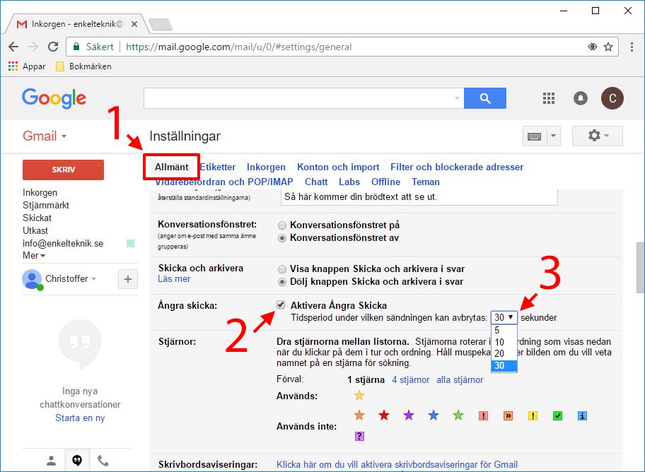 Gmail - Aktivera Ångra skick - Välj antal sekunder - Ångra mejl