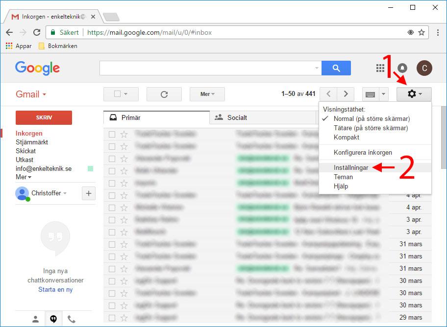 Gmail - Inställningar - Ångra skickat mejl - E-post-meddelande