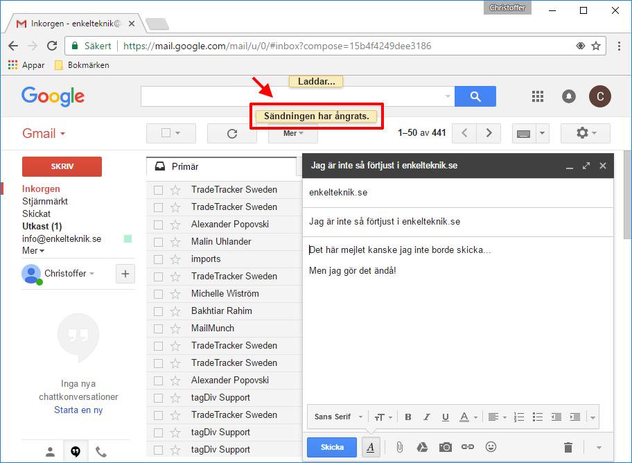 Gmail - Skickat mejl tillbaka i inkorgen - Ångrat
