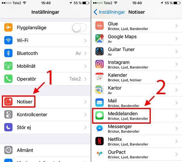 iPhone - iPad - Notiser - Meddelanden - Stäng av visning