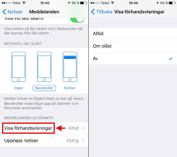 iPhone - iPad - Visa förhandsvisningar - Av - Om olåst