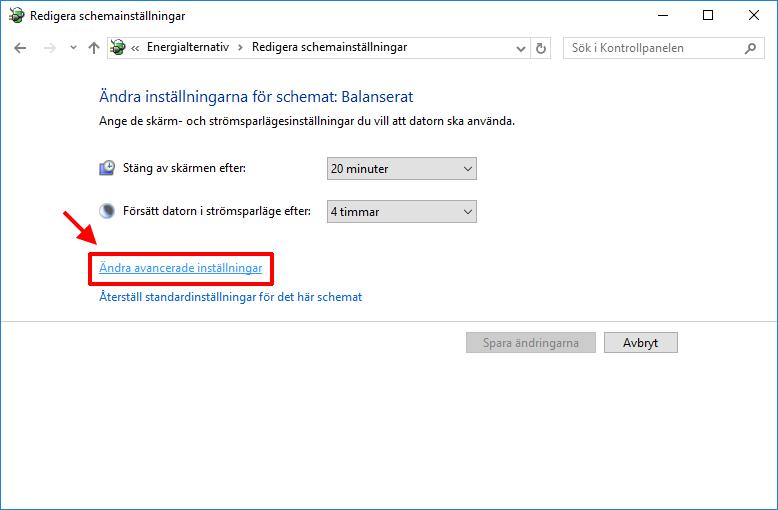 Windows 10 - Energialternativ - Ändra avancerade inställningar