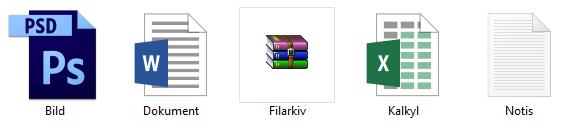 Windows 10 - Filändelser - Dokumenttyp - Dolda - Visas ej