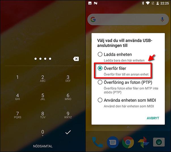 Android - Dator - Koppla och överför filer - MTP - PTP - USB